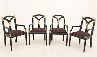 4 BLACK LACQUERED EGYPTIAN STYLE ARM CHAIRS