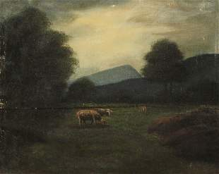19TH C. OIL ON CANVAS LANDSCAPE WITH SHEEP