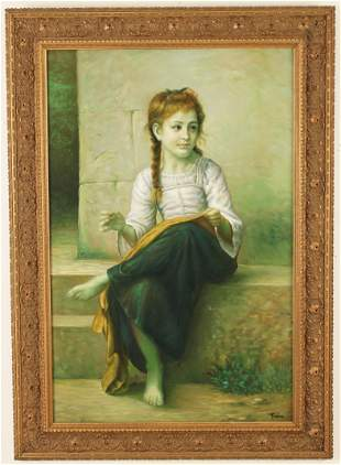 O/C PAINTING OF SEATED YOUNG GIRL