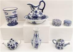 8 PIECE LOT OF BLUE AND WHITE PORCELAIN