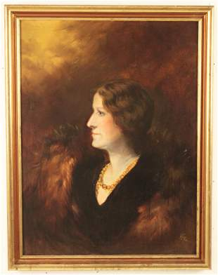 O/C PORTRAIT OF WOMAN IN MINK, SIGNED HB 1932