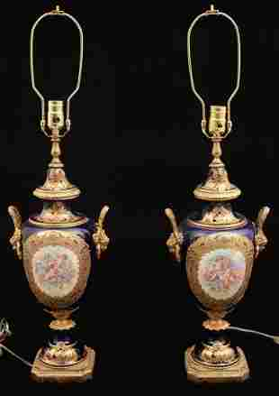 PR. OF FRENCH COBALT GROUND SEVRES STYLE URNS