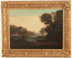 LARGE 19TH C. ITALIAN OIL ON CANVAS LANDSCAPE PAINTING