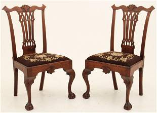 IMPORTANT PR. OF 18THC. PHILADELPHIA CHIPPENDALE CHAIRS