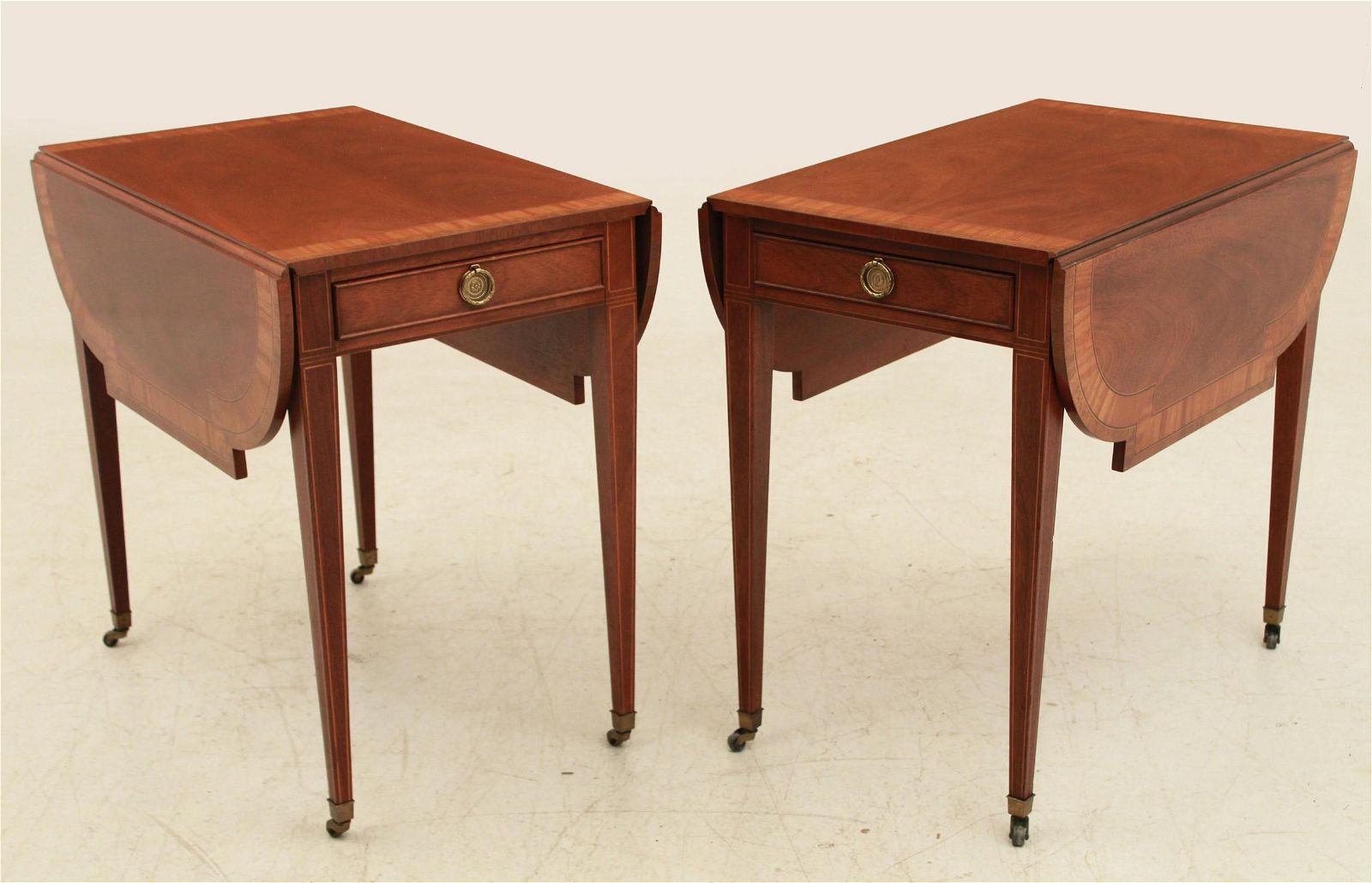 PR. OF SHERATON STYLE SATINWOOD BANDED PEMBROKE TABLES