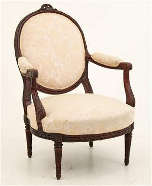 SUPERB LOUIS XV STYLE CARVED WALNUT FAUTEUIL, 19TH C.
