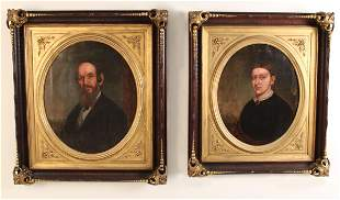 PR. OF OVAL PAINTED O/C PORTRAITS OF COUPLE