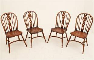 SET OF 4 ENGLISH ELM AND OAK WINDSOR STYLE CHAIRS