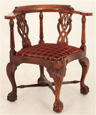 CHIPPENDALE STYLE MAHOGANY CORNER ARM CHAIR
