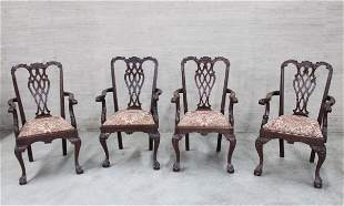 SET OF 4 AMERICAN CHIPPENDALE STYLE GAMING ARM CHAIRS