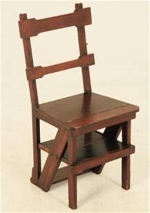 ENGLISH MAHOGANY ARTS AND CRAFTS STEP CHAIR, 19TH C.