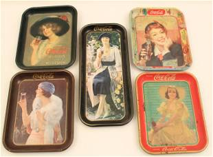GROUP OF 5 COCA-COLA ADVERTISING TRAYS