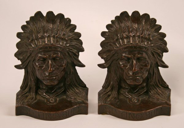 PAIR OF SIGNED BRONZE INDIAN CHIEF BOOKENDS TITLED