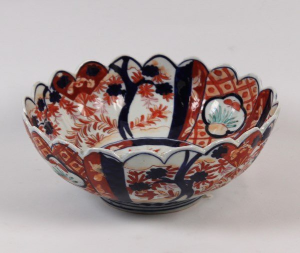 "19TH C. JAPANESE IMARI RIBBED SHAPED 11"" BOWL"