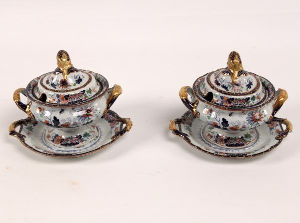 PAIR OF 19TH C. ENGLISH IRONSTONE COVERED TUREENS