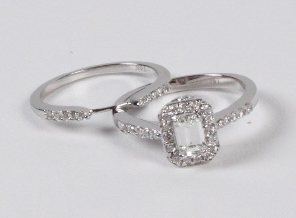 14K WHITE GOLD 2 PIECE EMERALD CUT DIAMOND BRIDAL SET