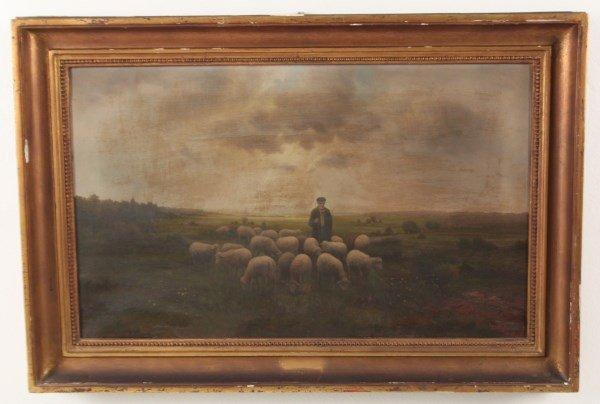F. SCHMIDT, OIL ON CANVAS PAINTING OF SHEPHERD