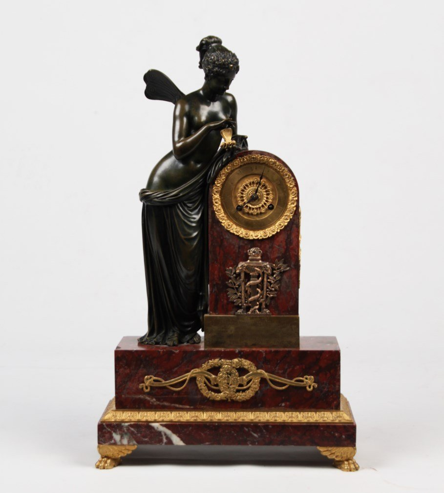 FRENCH ROUGE MARBLE AND DORE BRONZE MOUNTED FIGURAL