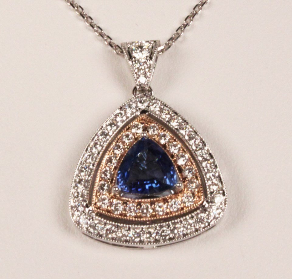 14K DIAMOND AND CEYLON SAPPHIRE NECKLACE