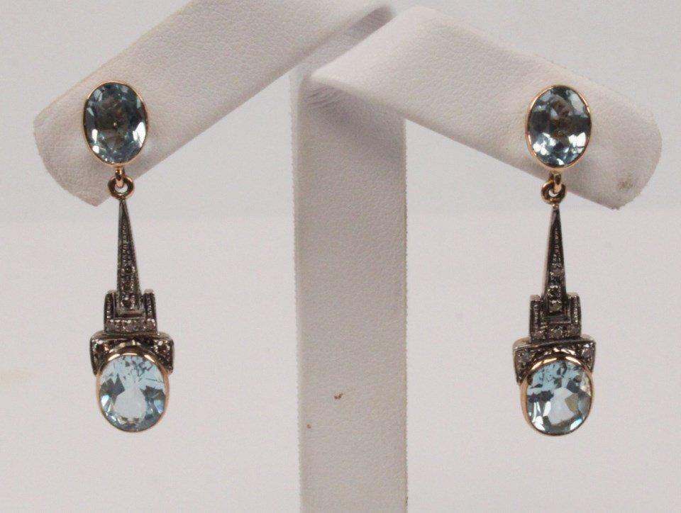 PAIR OF 18K BLUE TOPAZ AND DIAMOND EARRINGS
