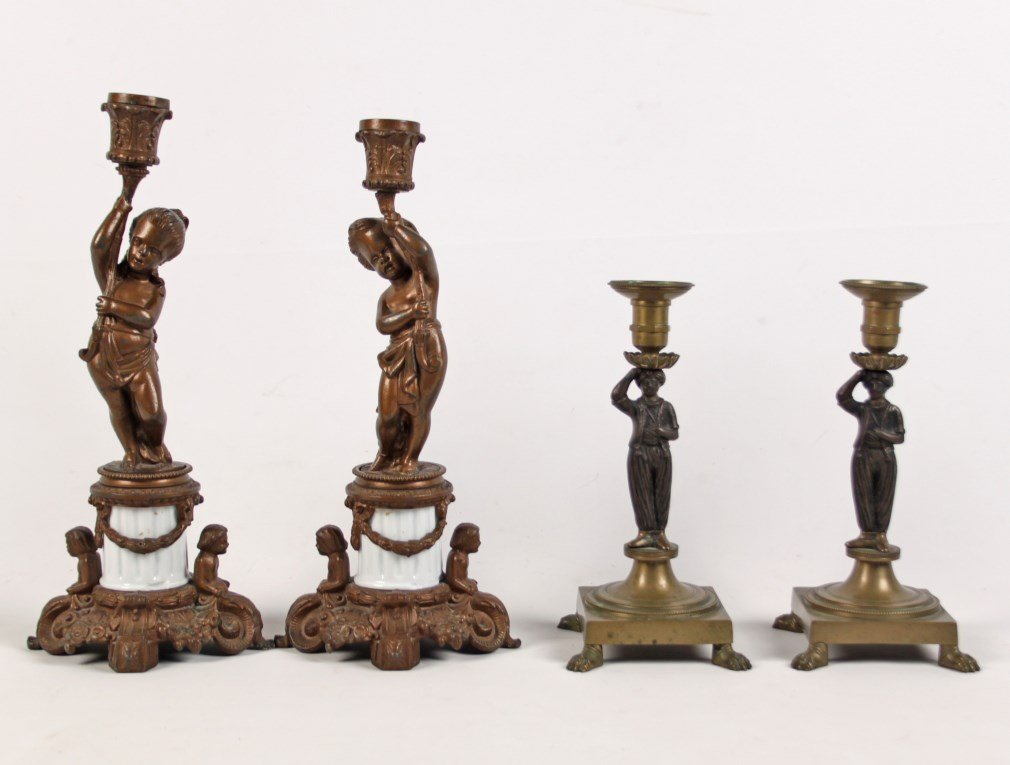 TWO MISCELLANEOUS PAIRS OF FIGURAL CANDLESTICKS