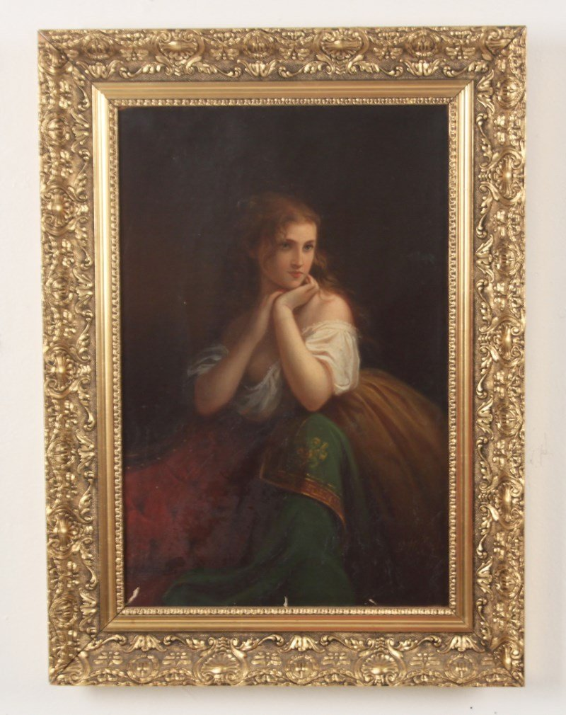 D.M.CARTER, LATE 19TH C. OIL ON CANVAS PORTRAIT OF