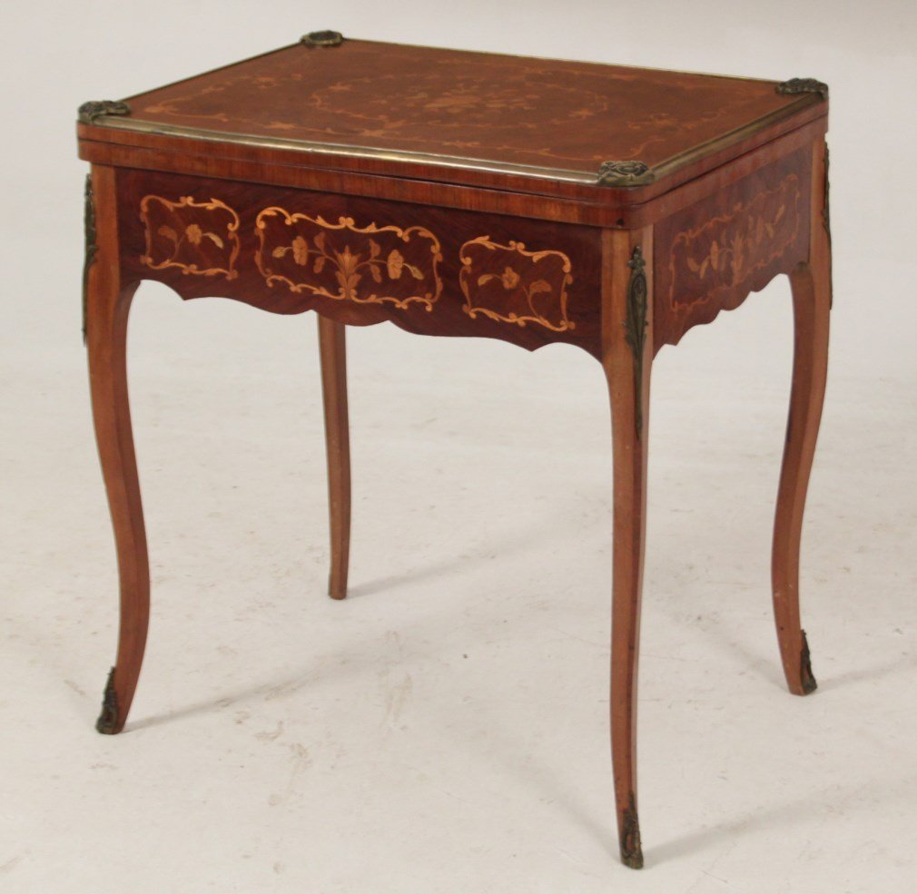 19TH C. LOUIS XV STYLE FRENCH MARQUETRY INLAID GAMES