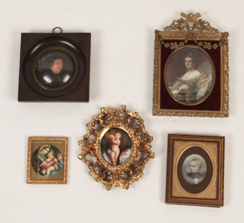 5 PIECE MISCELLANEOUS LOT OF FRAMED MINIATURES
