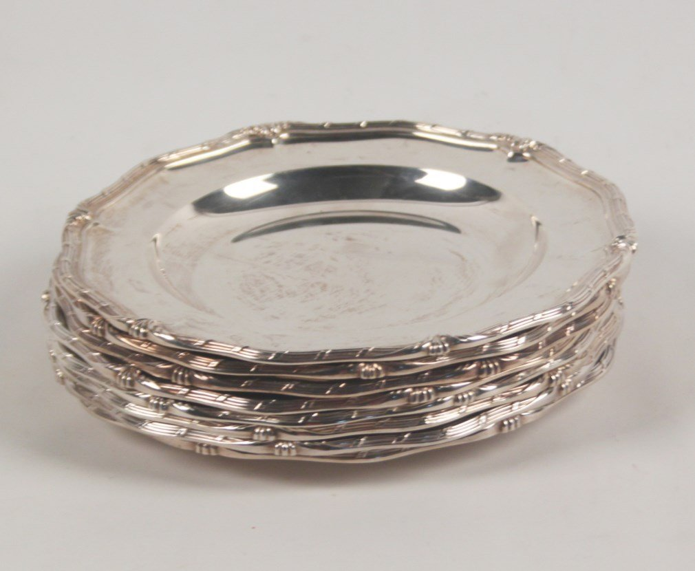 """GROUP OF EIGHT 10"""" STERLING SILVER PLATES"""