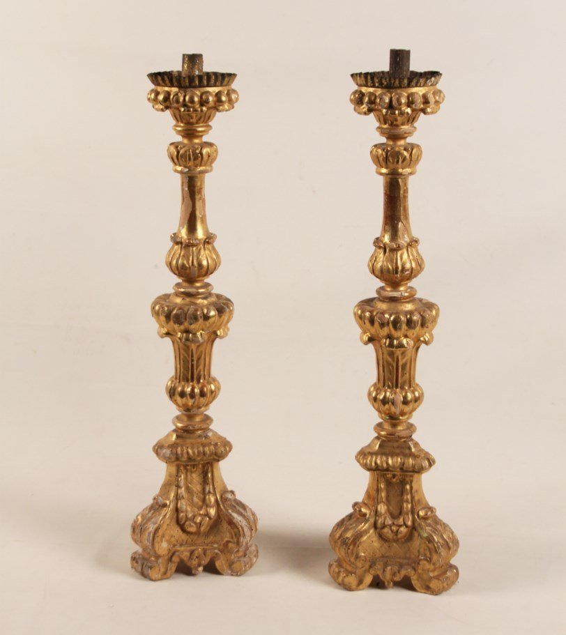 PAIR OF 19TH C. ITALIAN CARVED GILTWOOD PRICKET