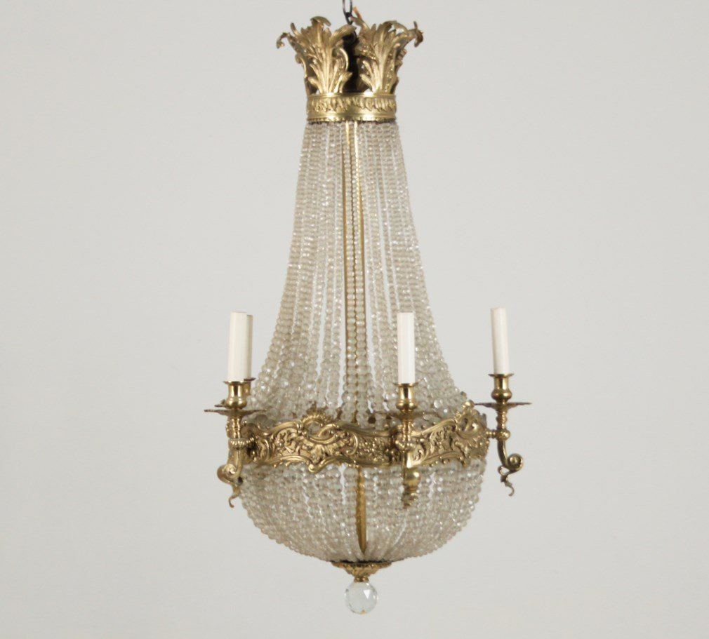 FRENCH POLISHED BRONZE AND CRYSTAL 5 LIGHT CHANDLIER