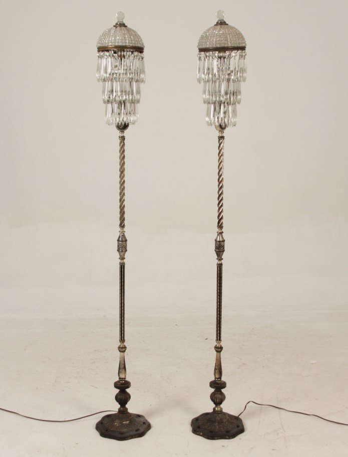 PAIR OF DECORATIVE IRON, SILVER AND CRYSTAL FLOOR LAMPS