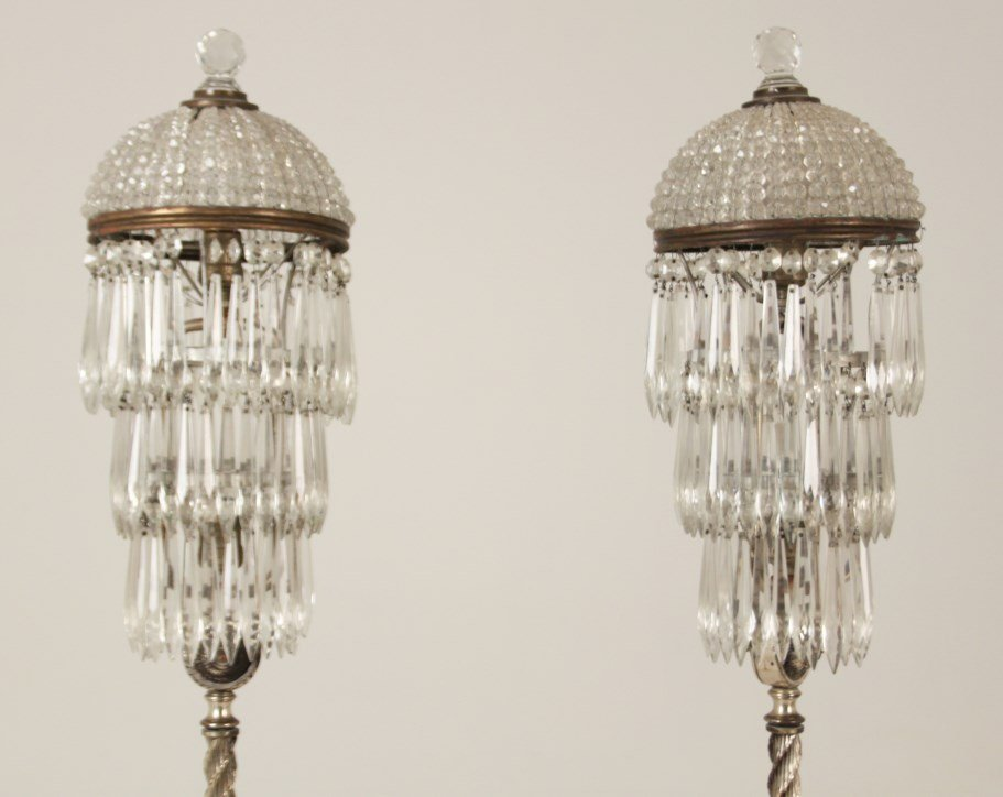 PAIR OF DECORATIVE IRON, SILVER AND CRYSTAL FLOOR LAMPS - 2