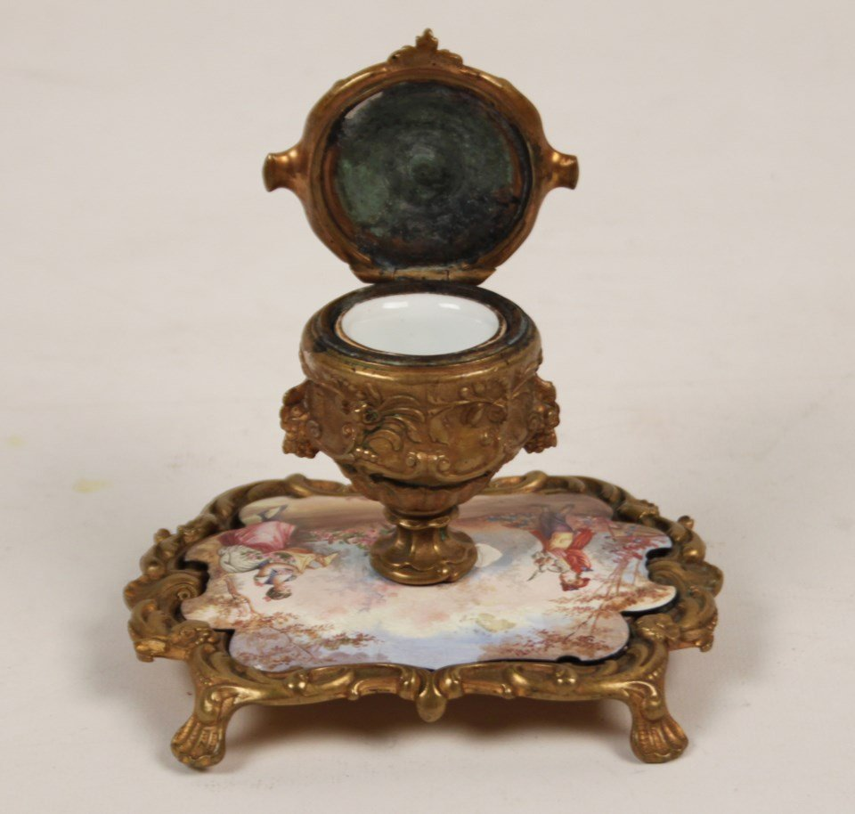 FRENCH HAND PAINTED PORCELAIN INKWELL