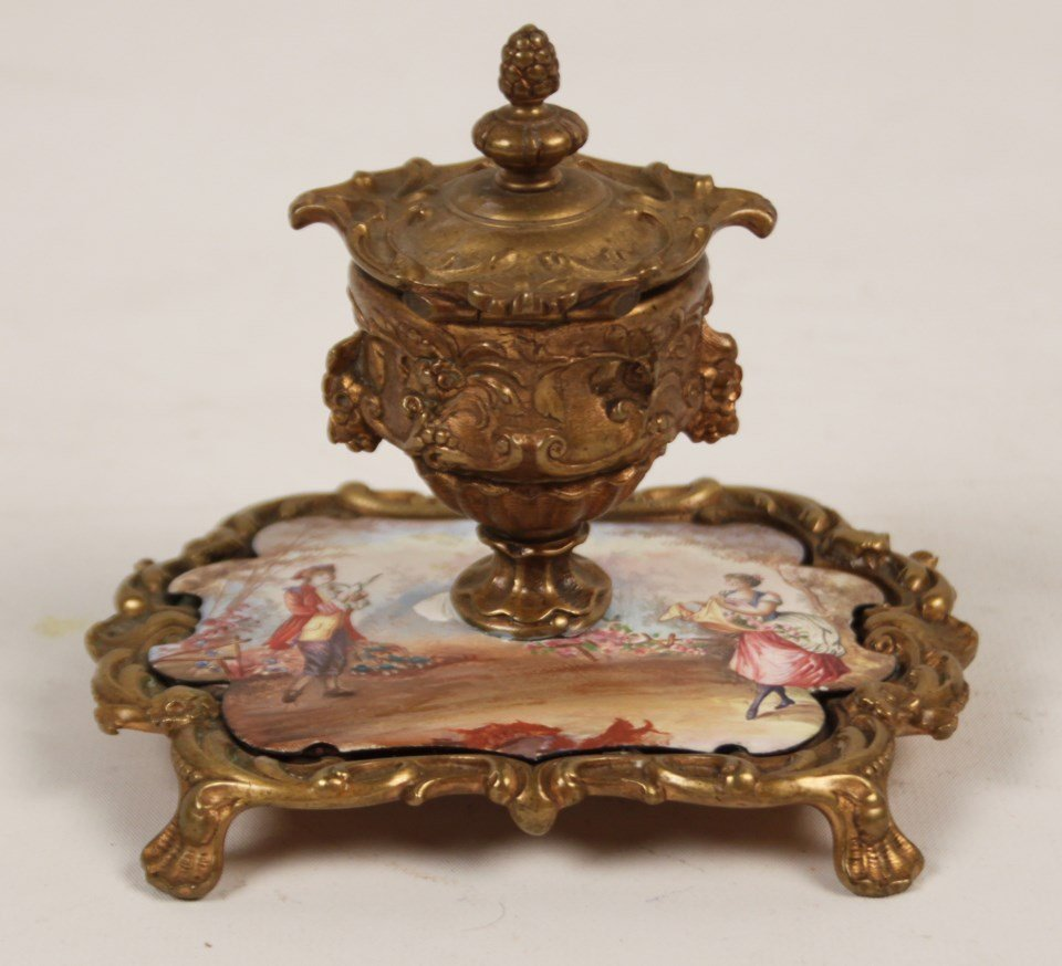 FRENCH HAND PAINTED PORCELAIN INKWELL - 2