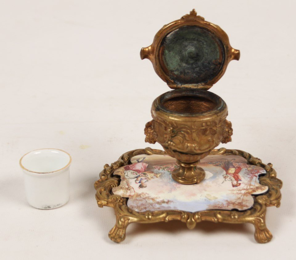 FRENCH HAND PAINTED PORCELAIN INKWELL - 4
