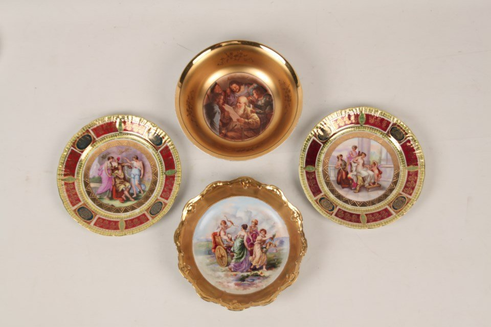 MISCELLANEOUS LOT OF 4 DECORATIVE CABINET PLATES AND