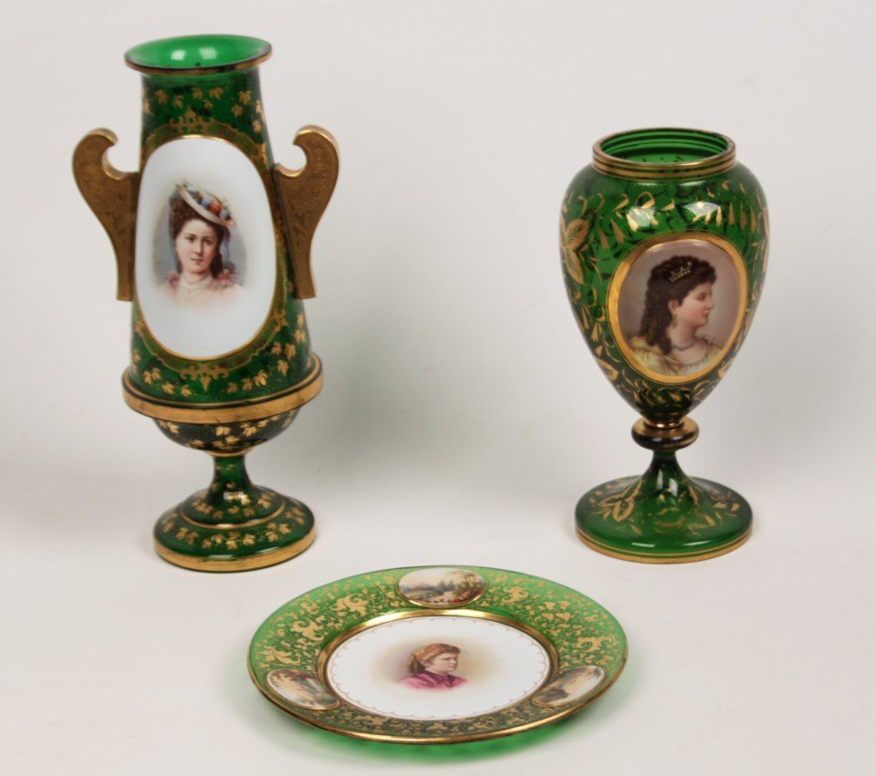 3 PIECE MISCELLANEOUS LOT OF GREEN BOHEMIAN GLASS