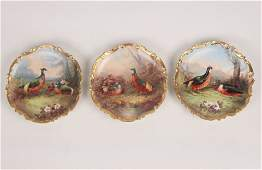 GROUP OF 3 HAND PAINTED FRENCH LIMOGES CHARGERS