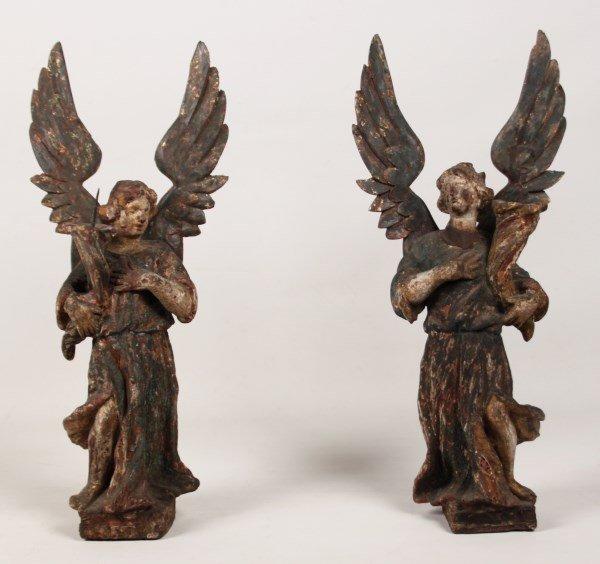 PAIR OF 18TH C. CARVED WOOD ANGEL CANDLEPRICKS