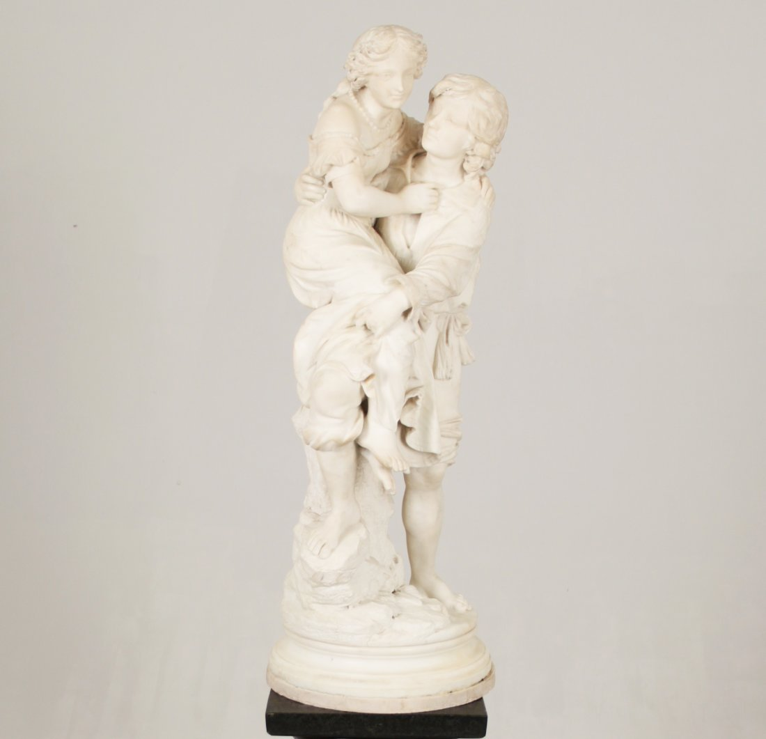 """G. ANDERSON, MARBLE STATUE """"THE LOVERS"""""""