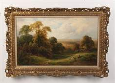 TURNER 19TH C OIL ON CANVAS LANDSCAPE PAINTING