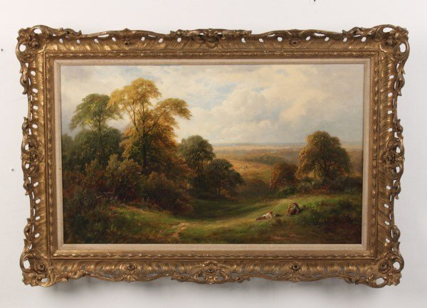 TURNER, 19TH C. OIL ON CANVAS LANDSCAPE PAINTING