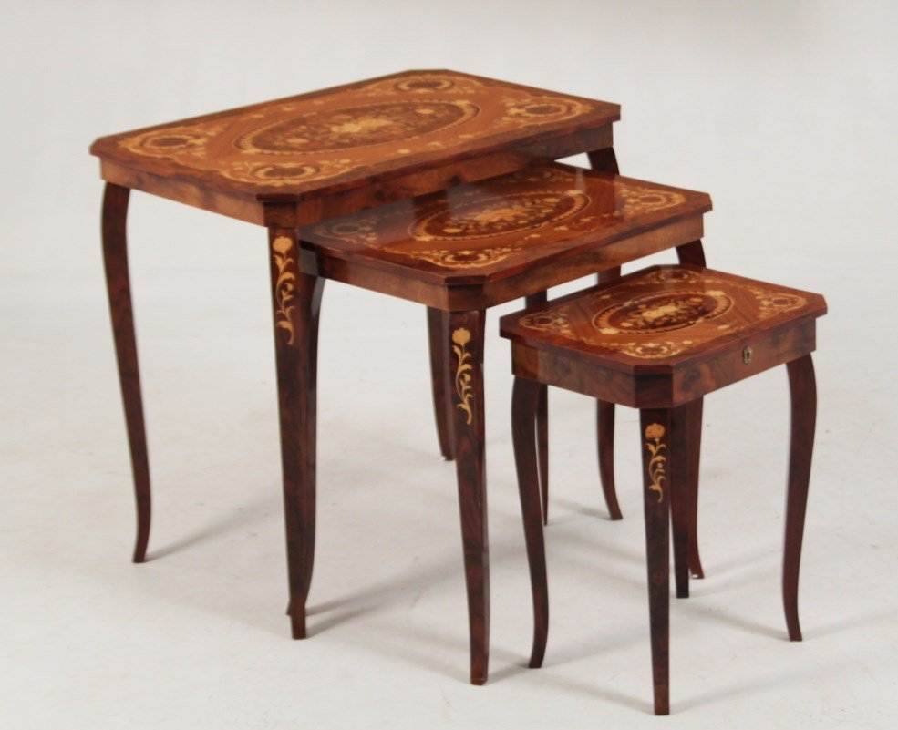 NEST OF 3 WALNUT AND MARQUETRY TABLES