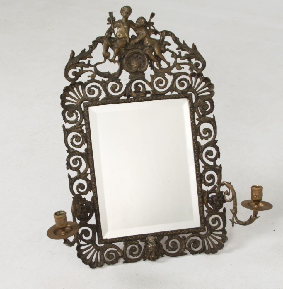 FRENCH BRONZE TWIN SCONCE DRESSING MIRROR