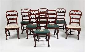 SET OF 8 PERIOD 18TH C.. QUEEN ANNE WALNUT CHAIRS