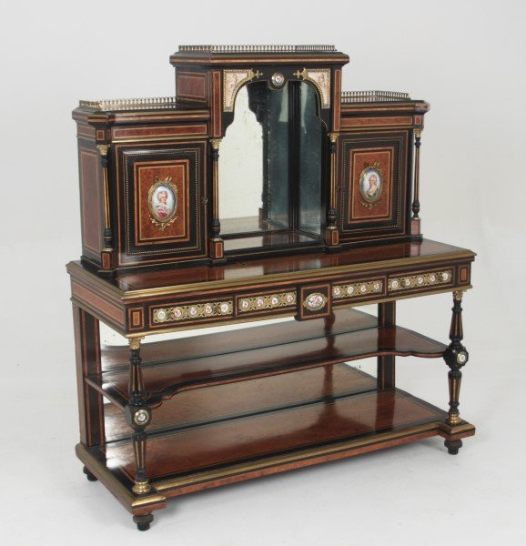 FRENCH LOUIS XVI BRONZE MOUNTED BUREAU WITH SEVRES