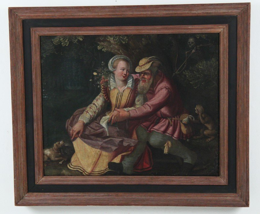 FRAMED 18TH/19TH C. OIL ON CANVAS COURTING SCENE