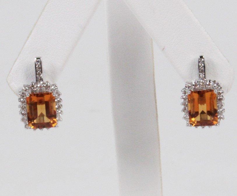 PAIR OF 14K DIAMOND AND CITRINE EARRINGS