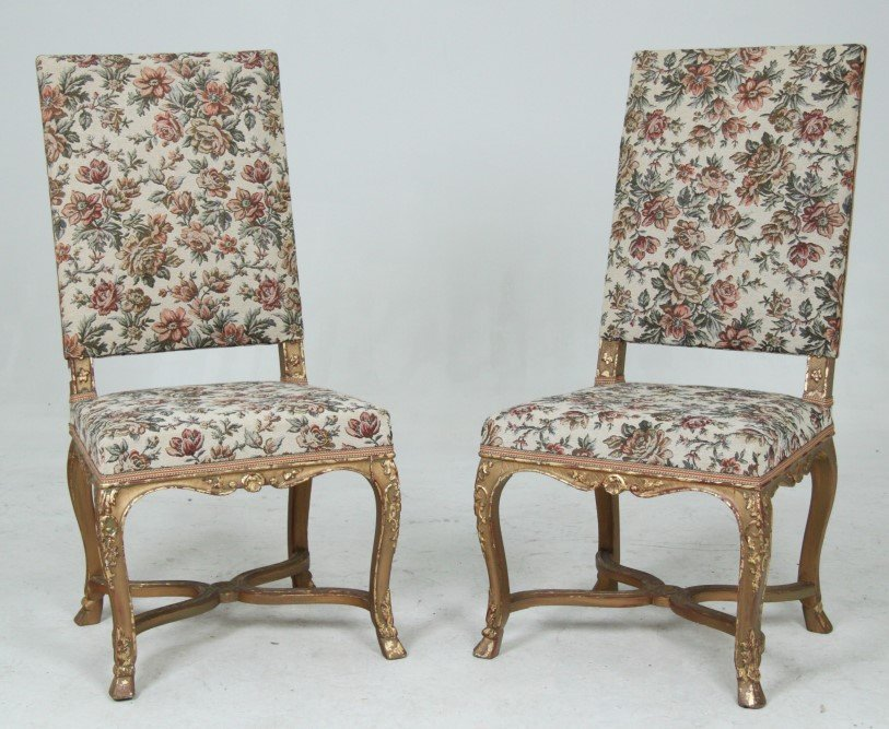 PAIR OF FRENCH REGENCY STYLE GOLD GILT CARVED CHAIRS